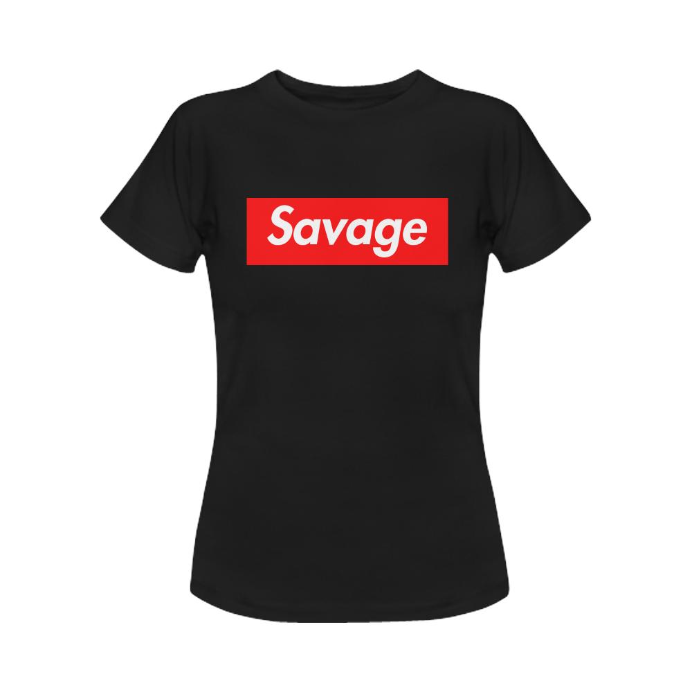 f1424c4c4 Savage Supreme Womens Slim Fit Black T-Shirt - Savage Tattoo - Ogden ...