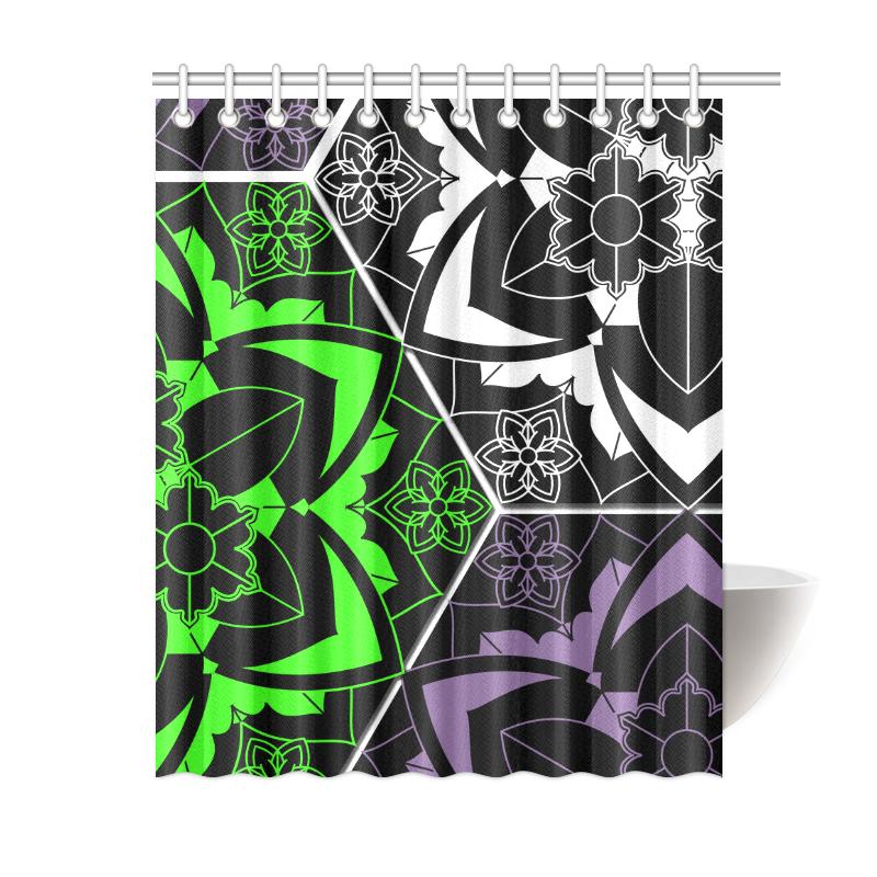 Savage Purple Green Mandala Shower Curtain